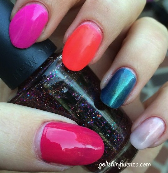 """From thumb to pinky: Ulta """"Fuchsiamania"""", Love and Beauty """"Pink"""", Claire's """"Hot Stuff"""", NYC """"Empire State Blue"""", Revlon Scented Parfum """"Cotton Candy"""""""